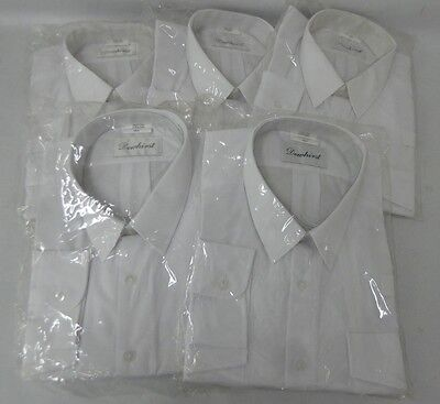 """5 x Dewhirst Men's White Long Sleeve Shirts 19.5"""" Smart Work Security Pilot NEW"""