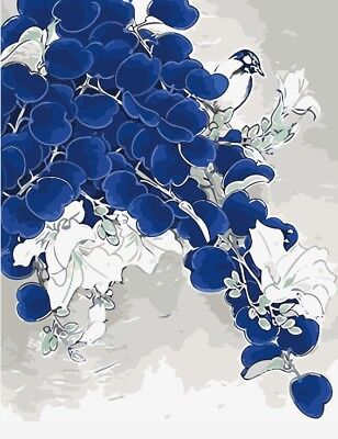 """16*20"""" Paint By Number kit Acrylic Painting On Canvas Bird in Blue Flowers 2271"""
