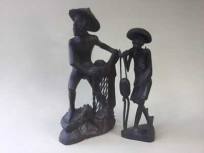 Two Balinese Carved Wooden Figures - Fisherman and Old Man