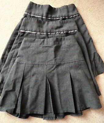 Girls pleated school skirts x 3 Charcoal grey age 6 years