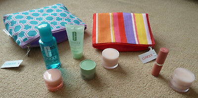 Clinique Bonus Time samples x 7 and makeup bags x 2