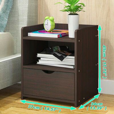 Bedside Table Nightstand Storage Bedroom Wood Organizer Cabinet Table Units UK