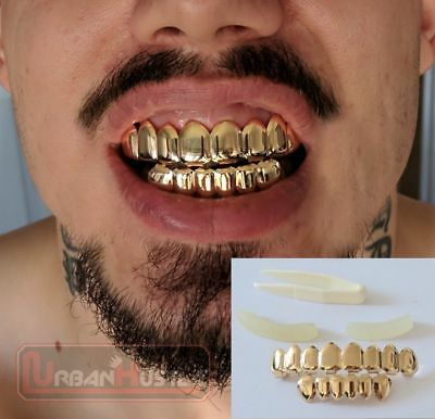 UK 14k Gold Grill Set Diamonds Vampire Fangs Halloween Asap Rapper Bling HIp Hop