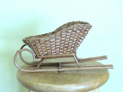 Brown Wicker Sleigh With Wooden Runners