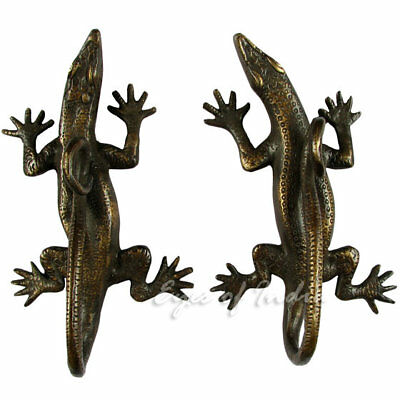 "8"" Pair Lizard Brass Cabinet Pulls Door Handles Antique Bronze Indian Bohemian B"