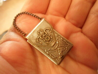 Antique French Art Nouveau Sil Plate Chatelaine / Stamp Locket.Only 99p Start!!
