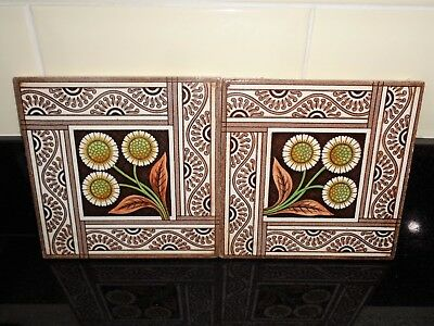 "Pair of Antique c.1900's Art Nouveau / Arts & Crafts Tiles ""DANDELION"" EXC!"