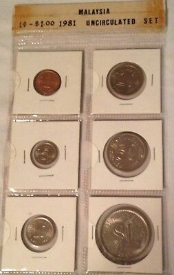 Malaysia Uncirculated Set of 6 coins 1981 (1 cent to 1 dollar)