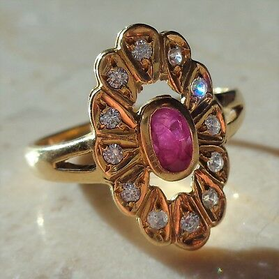 French Art Deco Ruby & White Sapphire Cluster Ring In 18K / 18ct Yellow Gold