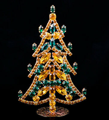 Czech christmas tree - stand-up - rhinestone - 4.33 x 2.75