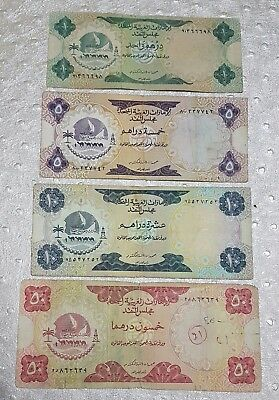 UAE , 1 , 5 , 10  &  50 Dh banknotes, 1973 First Series, United Arab Emirates .