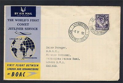 Northern Rhodesia GV1 9d value on BOAC First Comet Flight to Johannesburg Cover