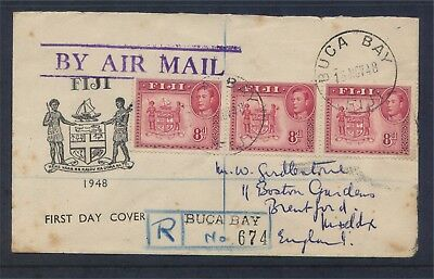 Fiji GV1 1948 3 x 8d values Registered FDC Cover to England