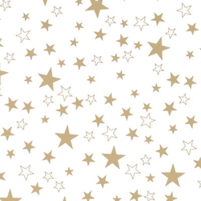 NEW White / Gold Star Gift Wrap, counter roll, wrapping paper, 500mm x 50m