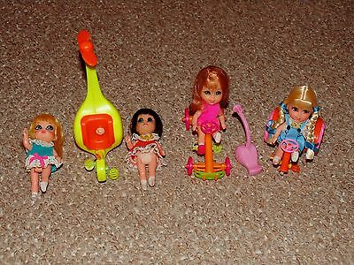 1960s Mattel Liddle Kiddles Lot of 4 Incomplete Skediddle Dolls