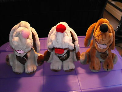 """Lot of 3 Ganzbros 1980s Wrinkles 9"""" Plush Dogs"""