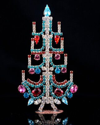 Czech christmas tree - stand-up - rhinestone - 4.92 x 2.75