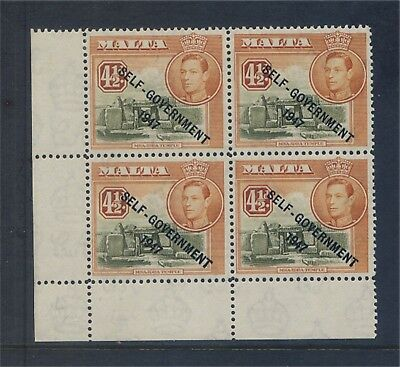 Malta GV1 4½d Large NT minor variety Block 4 Unmounted Mint