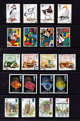 Great Britain 1989 Sets Used - Birds, Toys, Food, Anniversaries, Archeology