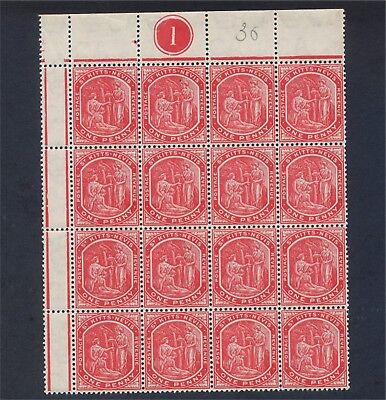 St Kitts Nevis EV11 1d Unmounted Mint block 16 with Plate Number