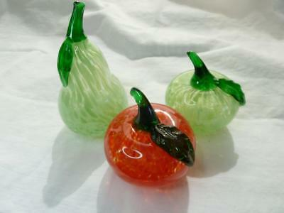 Vintage Murano Hand Blown Pear And Apples Art Glass Set