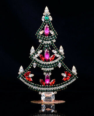 Czech christmas tree - stand-up - rhinestone - 6.69 x 4.33