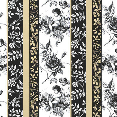 NEW Cherubs, Gold, Black, White Gift Wrapping Paper, counter roll, 500mm x 50m