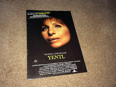 YENTL 1983 Movie Promo Pressbook Barbara Streisand Comedy Musical Spain