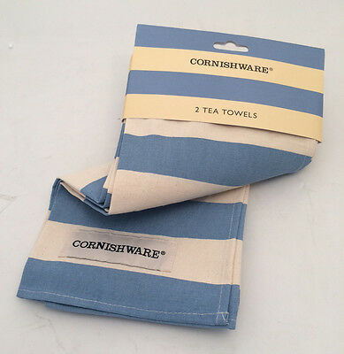 Cornish Blue Pair of Teatowels (2) by T.G.Green Cornishware