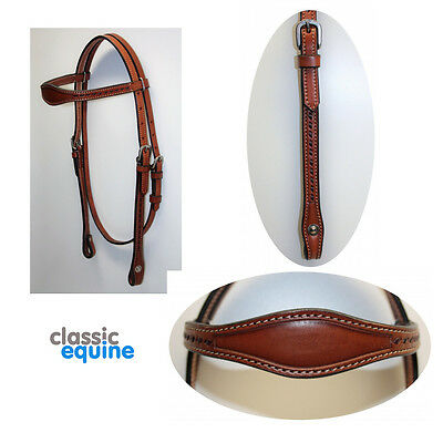 Western Headstall - Straight Brow with Stitch Detail