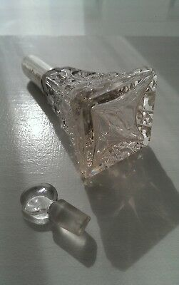 Antique/vintage Cut Crystal Glass Perfume Scent Bottle Sterling Silver Collar