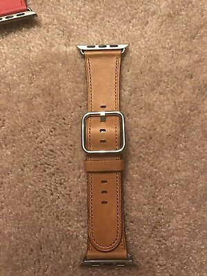 Authentic Genuine OEM Apple Watch Saddle Brown 42mm Leather Band Classic Buckle