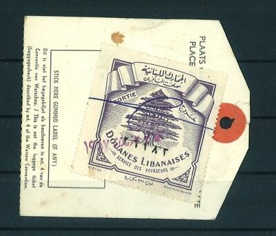 Lebanon, Douanes Libanaises, Dutch Airlines Stamp Vignette, Luggage Ticket