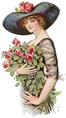 VicToRiaN WoMaN HoLDinG RoSeS ShaBby WaTerSLiDe DeCALs