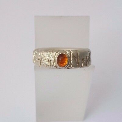 DIANA PORTER chunky etched 'ON AND ON' silver ring with citrine