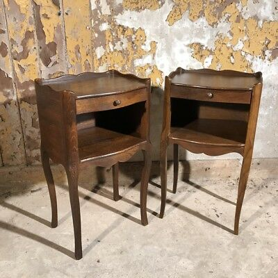 Pair of antique French oak bedside tables