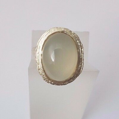 DIANA PORTER Silver moonstone cocktail ring