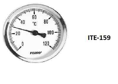 """60/100mm 0-120C Thermo Water Oil Temperature Gauge 1/2"""" Rear Entry Thermometer"""