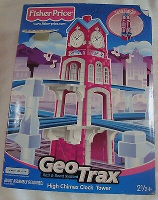 RARE Fisher Price GeoTrax Rail Road System High Chimes Clock Tower NIB