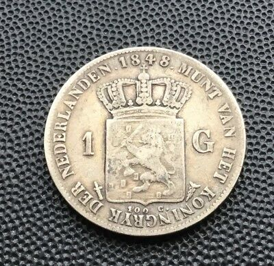 1848 Netherlands 1 guilder coin. 9.67 grams