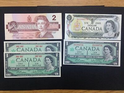 CANADA  (5 Notes)  1 and 2 Dollars  -- UNC