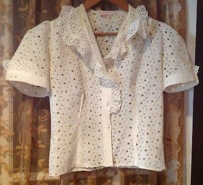 Vintage Eyelet And Lace Blouse By Pat Petite Juniors