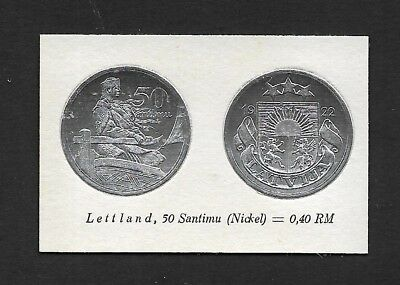 Latvia Coin Card by Greiling Germany 1929-1922 50c Silver THIS IS NOT A COIN