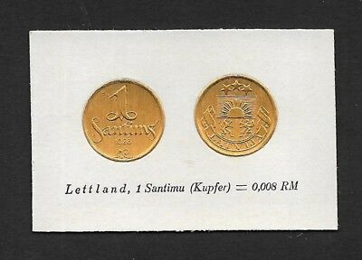 Latvia Coin Card by Greiling Germany 1929-1928 1santimus THIS IS NOT A COIN