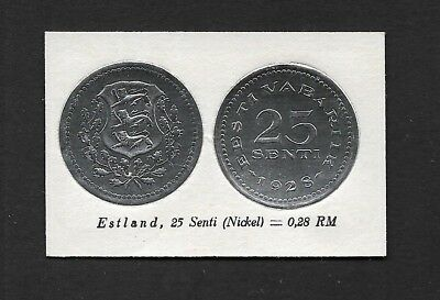 Estonia Coin Card by Greiling Germany 1929 - 1928 25c Silver THIS IS NOT A COIN