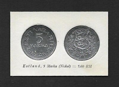 Estonia Coin Card by Greiling Germany 1929 - 1926 5m Nickel THIS IS NOT A COIN