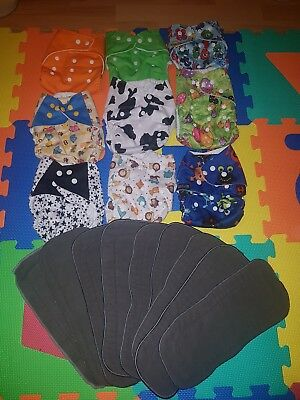 Prelived birth to potty reusable pocket and inserts nappies bundle