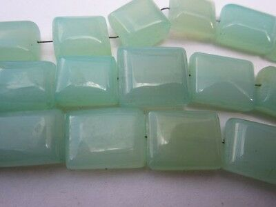 7 inch aqua green opaque chalcedony plain rectangle beads gemstone  9x11mm to 11