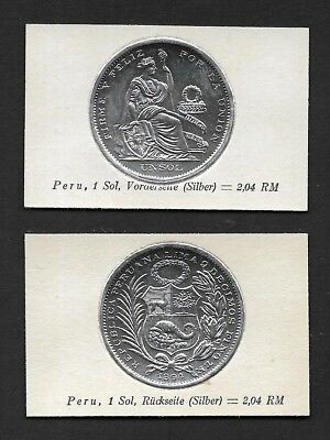 Peru Coin Card by Greiling Germany 1929 - 1994 1s Silver THIS IS NOT A COIN