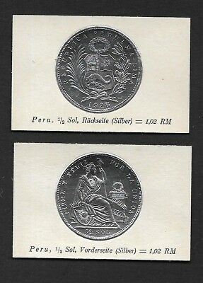 Peru Coin Card by Greiling Germany 1929 - 1928 1/2s Silver THIS IS NOT A COIN